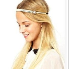 Fayon Chic Stylish White Pearls Double Layer Headgear